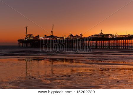 A photography of Brighton Pier by night