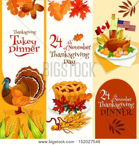 Thanksgiving Day dinner invitation banners set. Vector decoration banners design for invitation card to thanksgiving traditional dinner with text and elements of turkey, cornucopia, autumn harvest abundance background