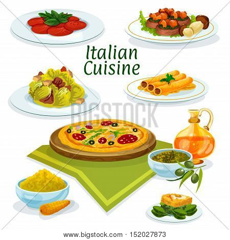Italian cuisine pepperoni pizza cartoon icon served with beef carpaccio, lettuce salad caesar, pasta stuffed fish, corn polenta, basil and olive sauce pesto, beef with porcini and spinach omelette