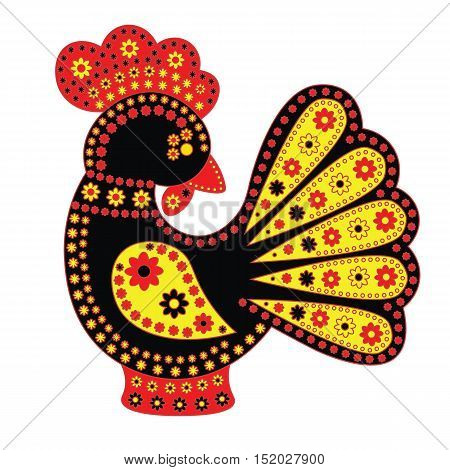 Cartoon stylized rooster Chinese style with colorfull ornament. Symbol 2017.