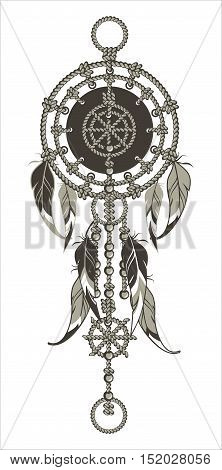 Indian dream catcher amulet with the rope, feathers and beads on a white background