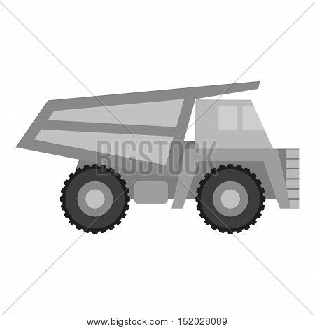 Haul truck icon in monochrome style isolated on white background. Mine symbol vector illustration.