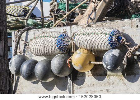 buoy on a fishing boat at sea