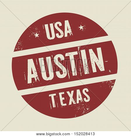 Grunge vintage round stamp with text Austin Texas vector illustration