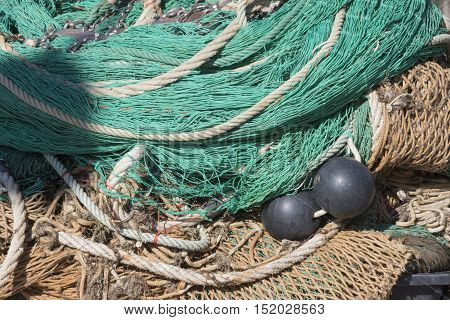 Net And Buoy For Fishing At The Port