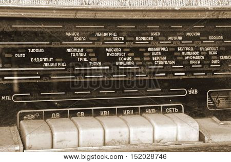 ILLUSTRATIVE EDITORIAL.Vintage Soviet civil radio reciever close up.October 15,2016 Kiev, Ukraine