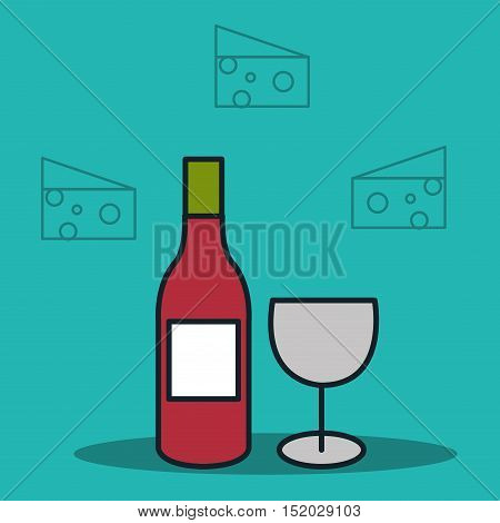 wine bottle and cup with cheese icon over blue background. vector illustration
