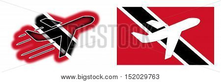 Nation Flag - Airplane Isolated - Trinidad And Tobago