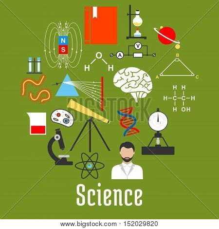 Science research flat icons created a round badge with microscope, atom, DNA, molecule, book, scientist, laboratory flask, chemical formula, telescope, planet, brain cell and magnet field