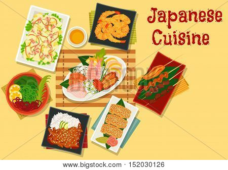 Japanese cuisine sashimi platter icon served with tempura shrimps, grilled chicken skewers, seaweed salad kaiso, seafood salad, teriyaki pork with rice and omelette roll stuffed eel