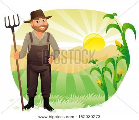 Illustration of a Farmer in Overalls and a Straw Holding on to a Rake Looking with Satisfaction at His Crops