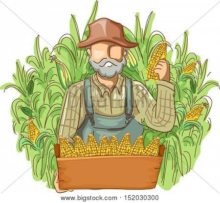 Illustration of a Farmer in Overalls and a Straw Hat Holding a Crate of Freshly Picked Corn