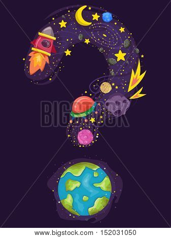 Conceptual Illustration Featuring Different Heavenly Bodies Forming the Shape of a Question Mark
