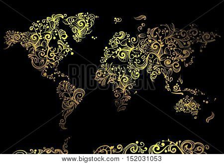 Artsy Illustration Featuring a World Map Made of Artsy Golden Vines Set Against a Black Background