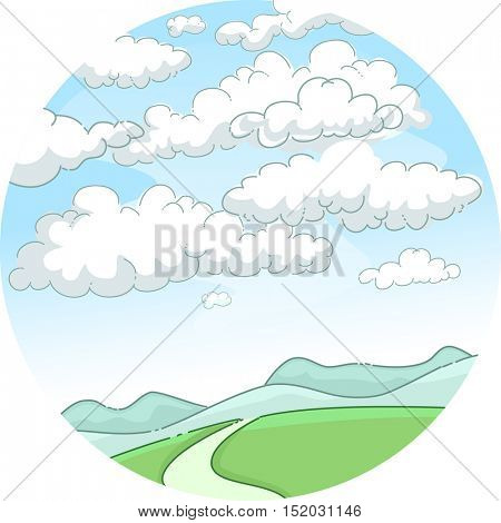 Whimsical Illustration of a Scenic Mountain Framed by Blue Skies Obstructed by Fluffy White Clouds