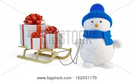 Snowman and sledge with gifts. 3d render