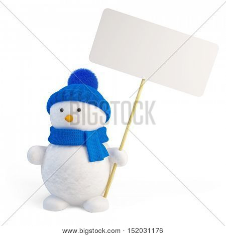 Snowman with blank sign. 3d render