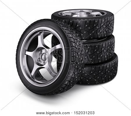 Winter snow tyres with metal spikes isolated on white background. 3d render