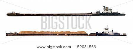 Pusher tug boat pulling barge isolated on white background
