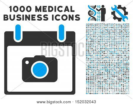 Blue And Gray Photo Camera Calendar Day vector icon with 1000 medical business pictograms. Set style is flat bicolor symbols, blue and gray colors, white background.