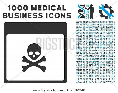 Blue And Gray Poison Skull Calendar Page vector icon with 1000 medical business pictograms. Set style is flat bicolor symbols, blue and gray colors, white background.