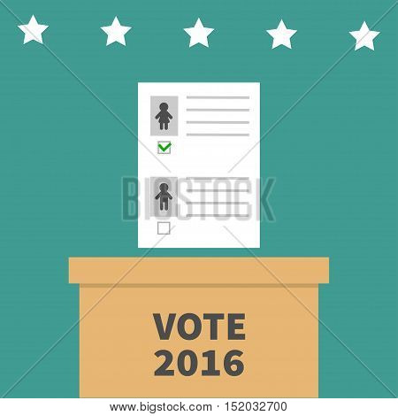 Ballot Voting box with paper blank bulletin Man Woman mark concept. Polling station. President election day Vote 2016. Green background Flat design Card. Vector illustration