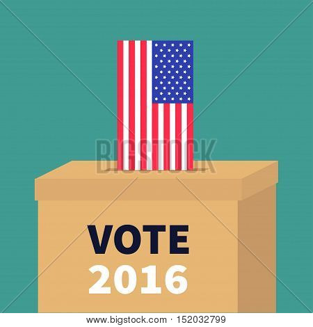 Ballot Voting box with American flag paper blank bulletin concept. Polling station. President election day Vote 2016. Isolated Green background Flat design Card Vector illustration