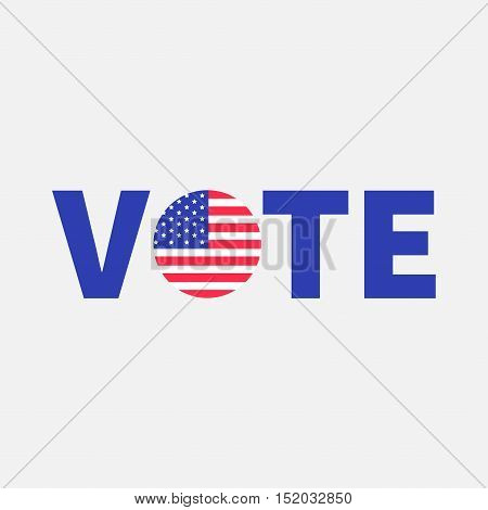 Vote blue text Badge button icon with American flag Star and strip President election day. Voting concept. Isolated White background Card Flat design Vector illustration