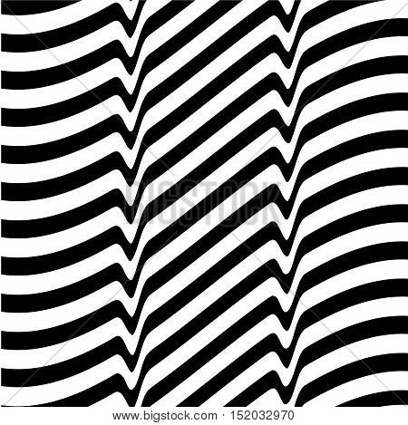 White black abstract wave line optical background. Monochrome movement illusion. Art design template. Vector illustration
