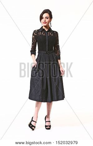 asian woman with up do hair style in black formal party cocktail dress high heels shoes full length body portrait standing isolated on white back view.