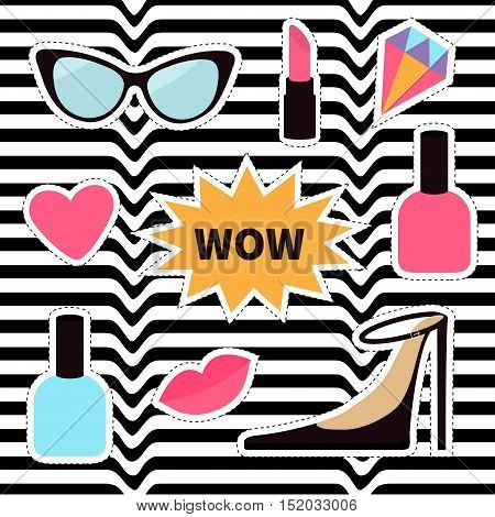 Quirky cartoon sticker patch badge set. Fashion pin. Lipstick heart wow text bubble star diamond shoes lips sunglasses nail polish. White black wave abstract line optical background Flat Vector