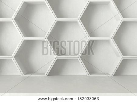 White concrete table and hexagons shelf background, 3D rendering
