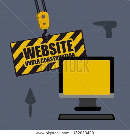 monitor computer device with drill and shovel tools. website under construction design. vector illustration