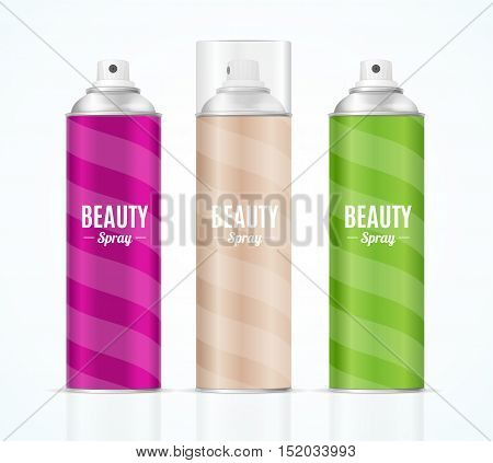 Aluminium Colorful Beauty Spray Can Set. Packaging Collection. Vector illustration