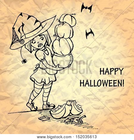 illustration of cute witch holding pumpkins. little young girl character. broken pumpkin. crumpled paper texture background. happy halloween