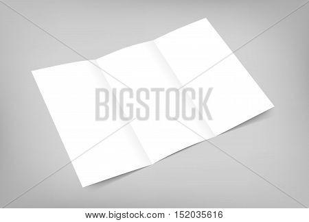 Blank tri fold flyer mock up on gray background. 3D illustration with soft shadows. Vector EPS10 illustration.