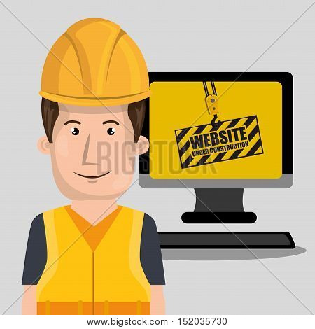 avatar man worker with yellow helmet safety equipment and computer device. website under construction design. vector illustration