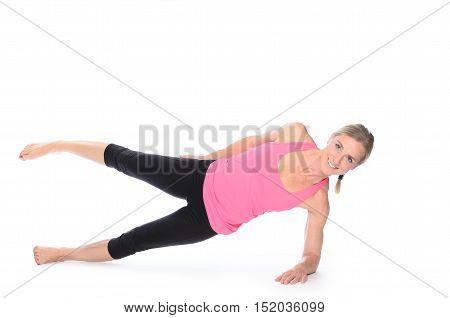 Beautiful Woman Doing Plank Abdominal Exercises