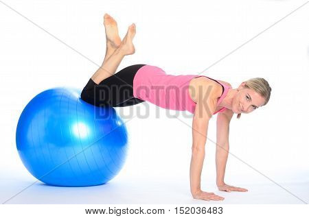 Athletic Woman Doing Pilates Exercises