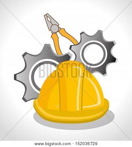 yellow heltmet with pliers and gears icon over white background. vector illustration