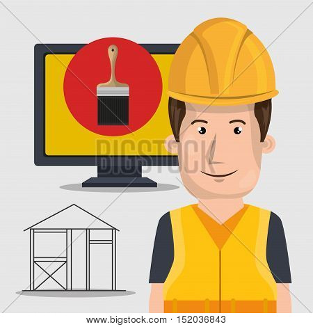 avatar architect man smiling with yellow helmet safety equipment and paint brush on monitor computer screen over white background. vector illustration