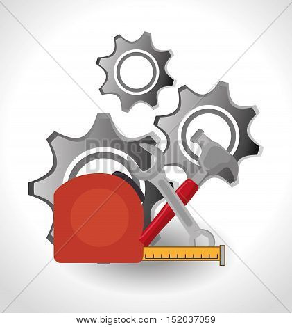 hammer with wrench and gears icon over white background. construction tools design. vector illustration