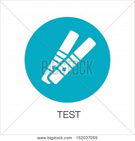 Rregnancy test. Simple blue icon. Logo drawn in flat style. Blue shape pictograph of pregnancy concept. Label for your design needs. Vector contour graphics