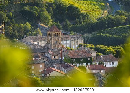 Church Of Salles Arbuissonnas Village In Beaujolais Land, France
