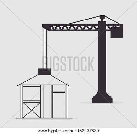 crane construction tower structure over white background. vector illustration