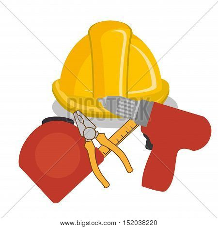 yellow helmet and construction tools over white background. vector illustration