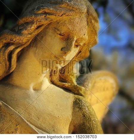 Beautiful close up af a face angel stone sculpture with a sweet expression that looks down (fragment of sculpture)