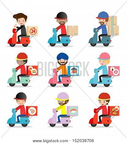 set of delivery service, delivery man is riding motor bike,Transport, man hipster is riding motorbike,modern design flat character people, graphic vector illustration, delivery business concept