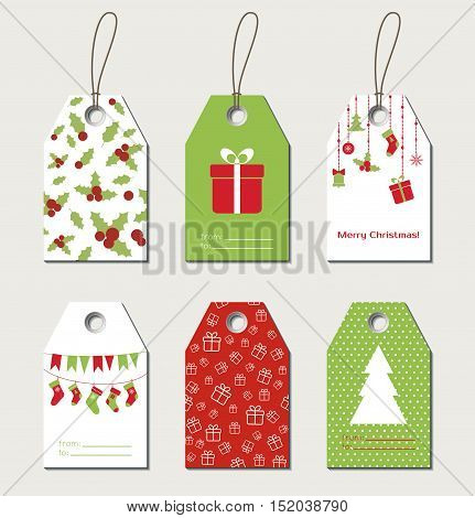Christmas gift tags. Vector gift labels, tags