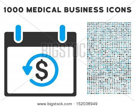 Blue And Gray Refund Calendar Day vector icon with 1000 medical business pictograms. Set style is flat bicolor symbols, blue and gray colors, white background.
